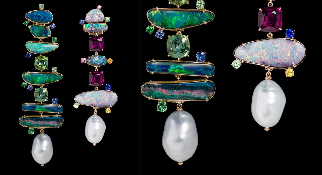 Margot McKinney earrings with opals, pearls and other precious gemstones