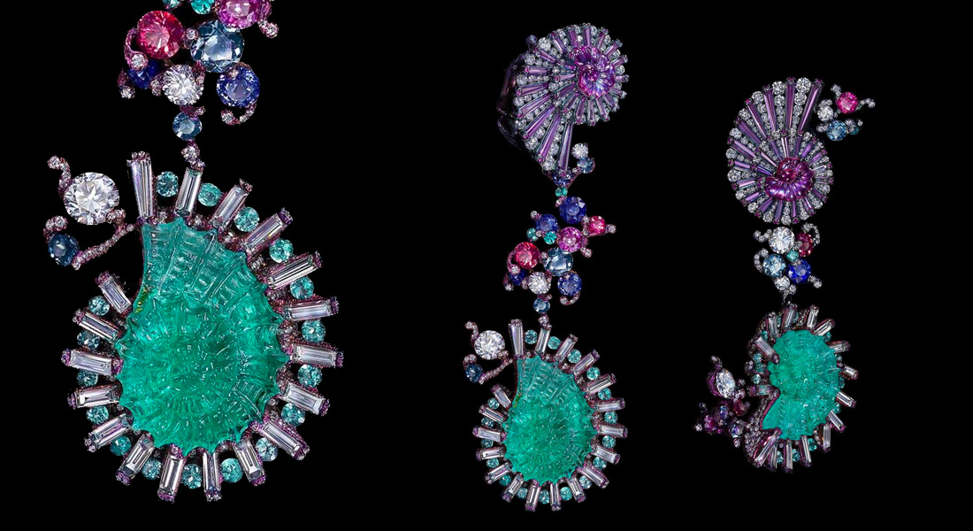 Wallace Chan Sea Fairies earrings with paraiba tourmalines, diamonds, sapphires and some other gems set in in titanium