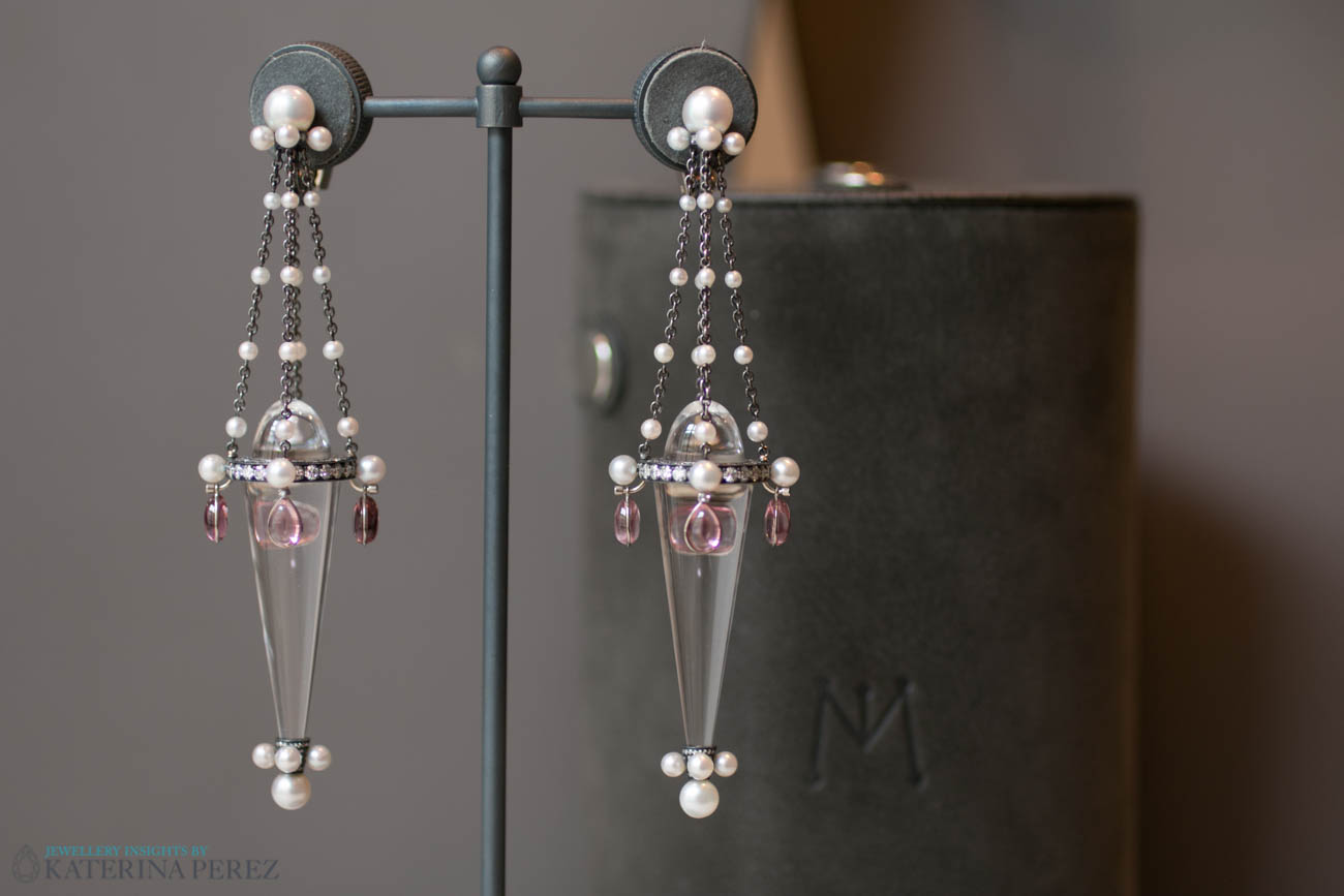 Nadia Morgenthaler earrings with spinels, pearls and diamonds