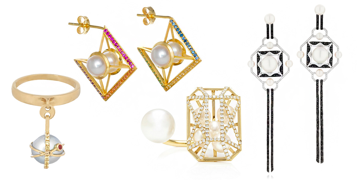 From left: Ikuria White Pearl Charm Ring with yellow sapphires and tsavorite. Sammie Jo Coxon Milky Way earrings. Melanie Georgacopoulos Caged Ring with diamonds and pearls. Sarah Ho Couture Origami Noir white gold earrings, set with white and black diamonds and South Sea pearls