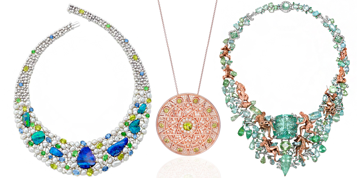 From left: Margot McKinney Objects of Desire 130th anniversary collection necklace. Lily Gabriella Damali pendant, rose gold, white diamond and peridot. Alessio Boschi Fountains of Rome collection necklace with paraiba tourmalines