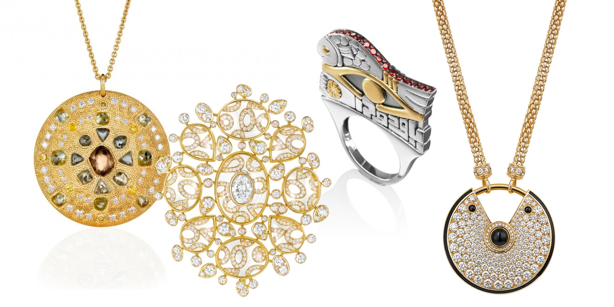 From left: De Beers Talisman Collection with rough and polished diamonds. Chanel Talisman Brooch in gold and diamonds. Azza Fahmy Evil Eye Ring in 18 kt Gold and Sterling Silver adorned with semi-precious stones. Cartier Amulet Pendant in Yellow gold, diamonds, onyx