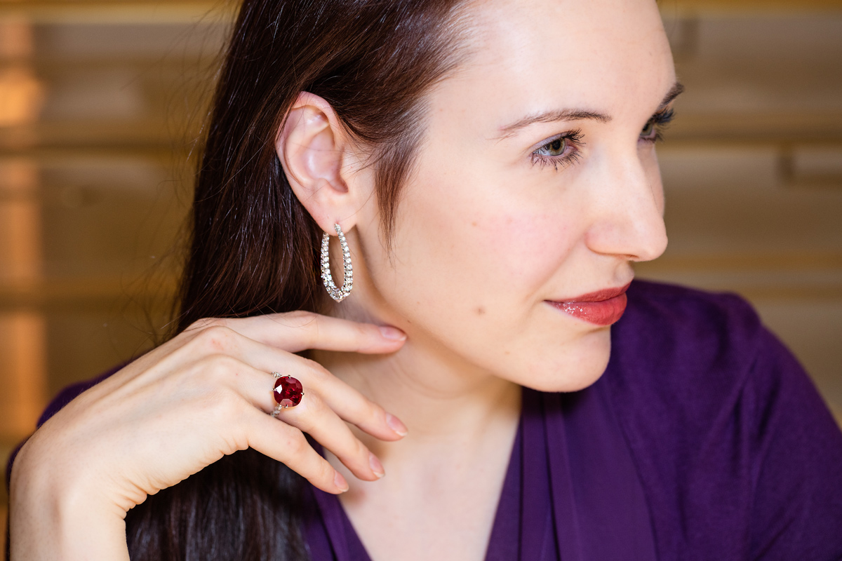 Boghossian Les Merveilles ring with a cushion cut ruby and hoop earrings with diamonds