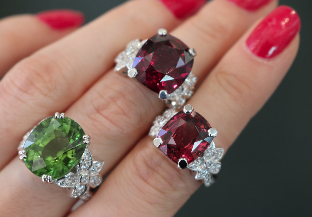 Louis Edouar Le Jeune Jasmine collection rings with peridot and garnets