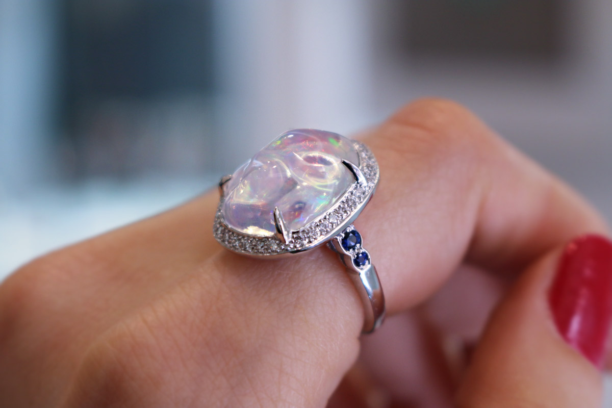Louis Edouard Le Jeune ring with an opal, sapphires and diamonds