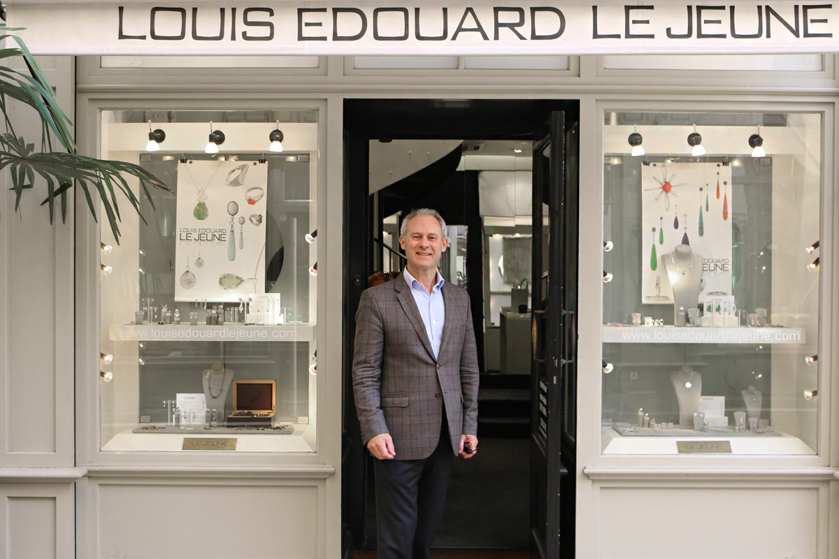 Louis Edouard Le Jeune in front of his boutique
