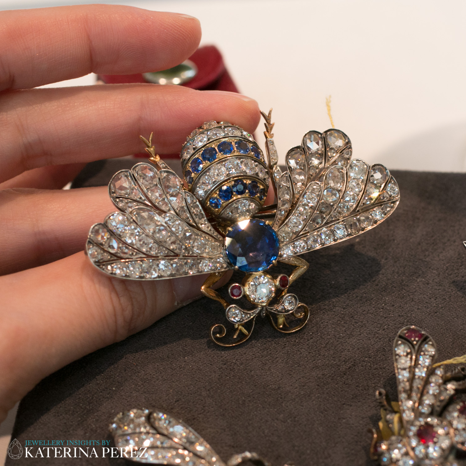 Sapphire and Diamond Bee Brooch, with ruby eyes, circa Early 20th Century. Total 3.55 carats