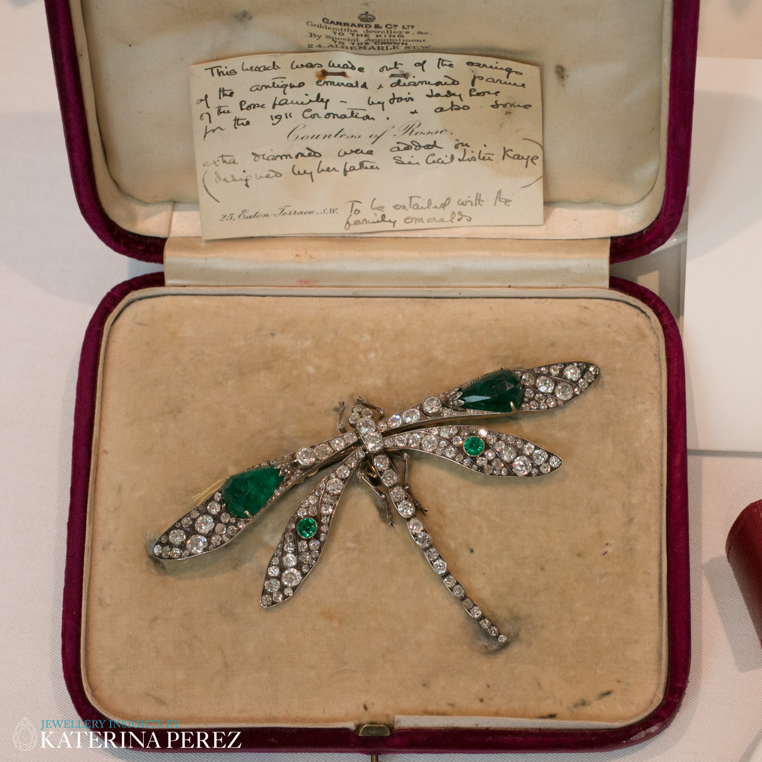 An Emerald and Diamond Dragonfly Brooch, circa 1910. Mounted in silver and yellow gold, diamonds total 13.25 carats