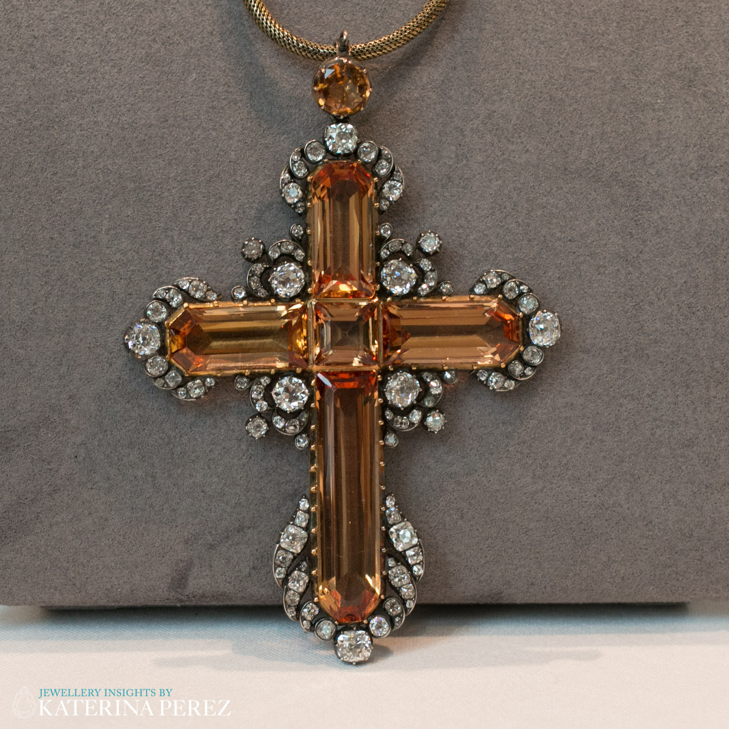 An Imperial Cross Pendant, Topaz and Diamond, circa 1830. Circular-cut topaz with old brilliant and rose-cut diamonds, total 7.30 carats