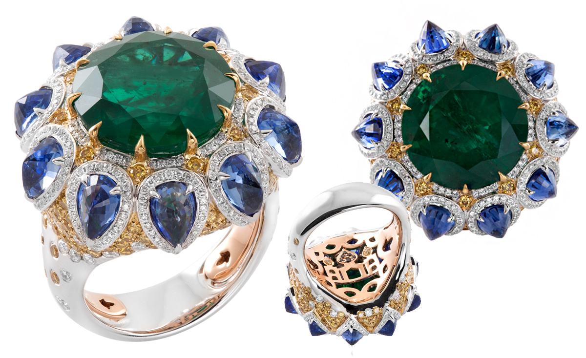 Alessio Boschi The Star of Taj ring from Breakfast in Jaipur collection with a brilliant cut emerald