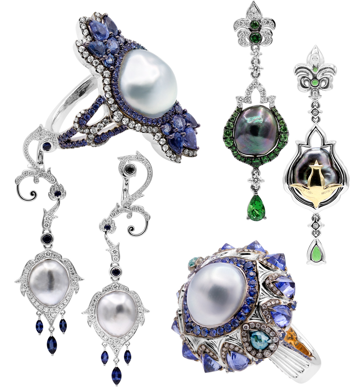 Alessio Boschi Mughal Perfumes collection rings and earrings