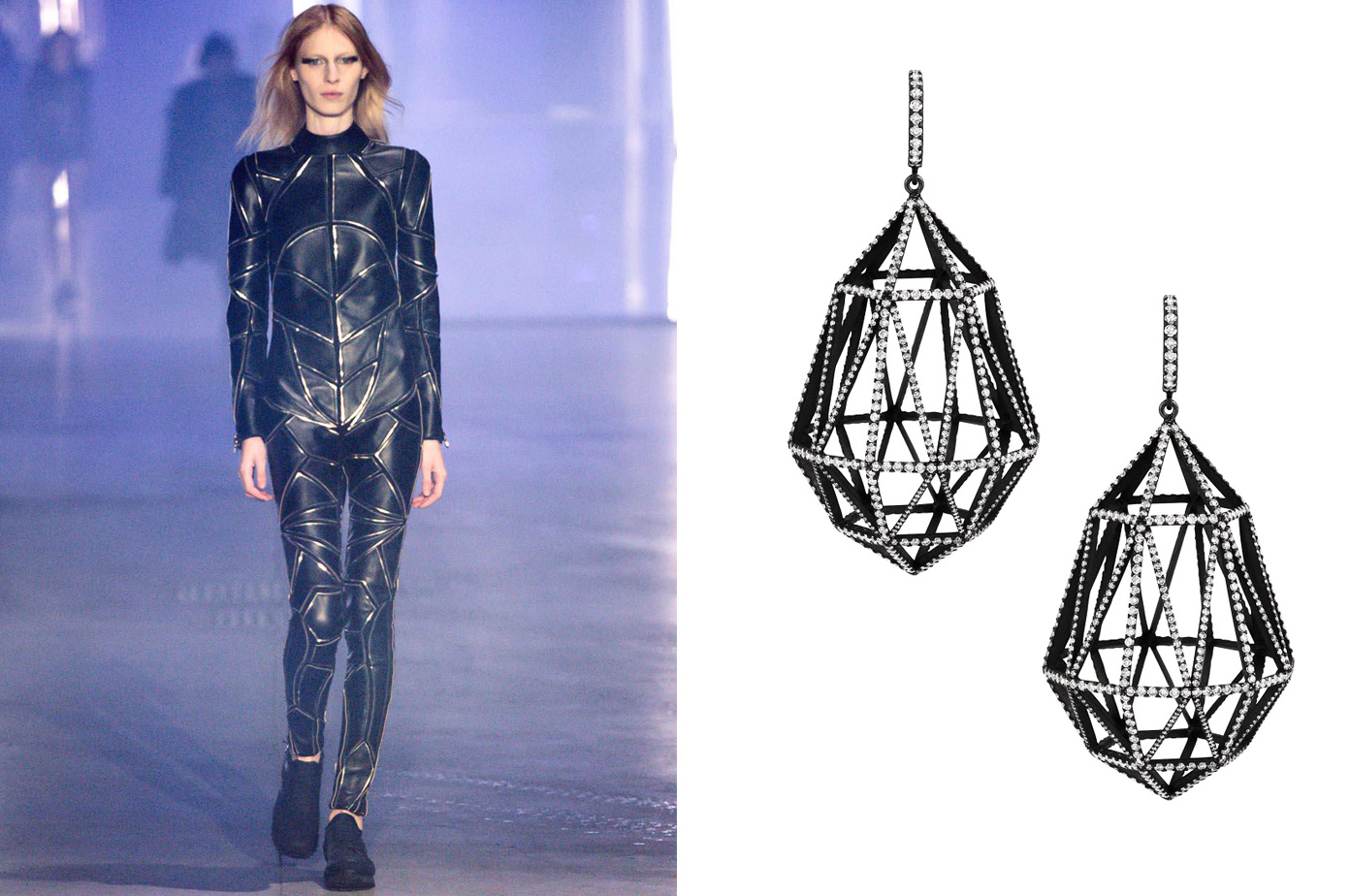 Philipp Plein and NUUN Briolette Earrings from Johara Collection