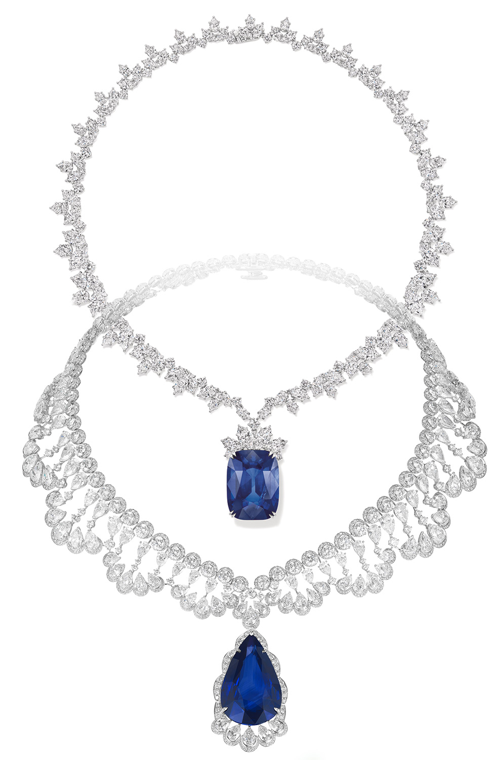On top: Harry Winston necklace with 68.79 cts cushion-cut sapphire and diamonds. On bottom: Chopard necklace with a 60 cts pear-shaped sapphire and diamonds