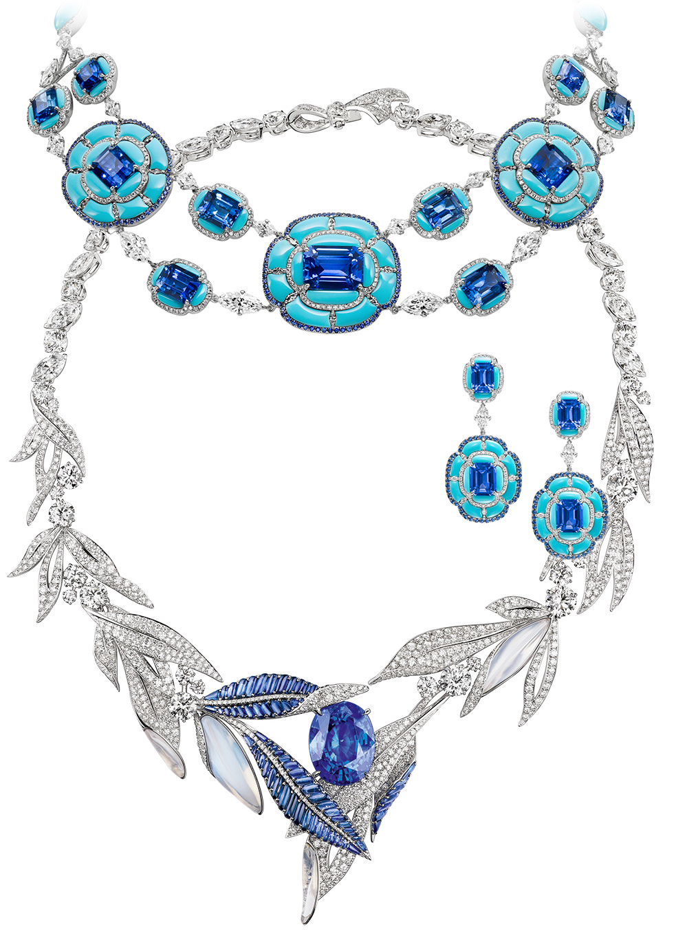 Boghossian necklace and earrings with sapphires and turquoise on the top and Chaumet necklace with an oval 36.34 cts sapphire on the bottom
