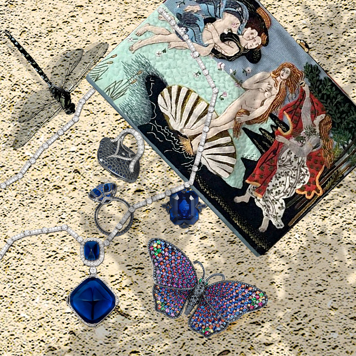 Bayco sapphire and diamond rings and a necklace; Stenzhorn multicoloured gem Butterfly brooch