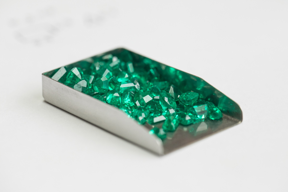 International Emerald Exchange cut and polished Colombian emeralds. Photo credit: Juan Cristobal Cobo