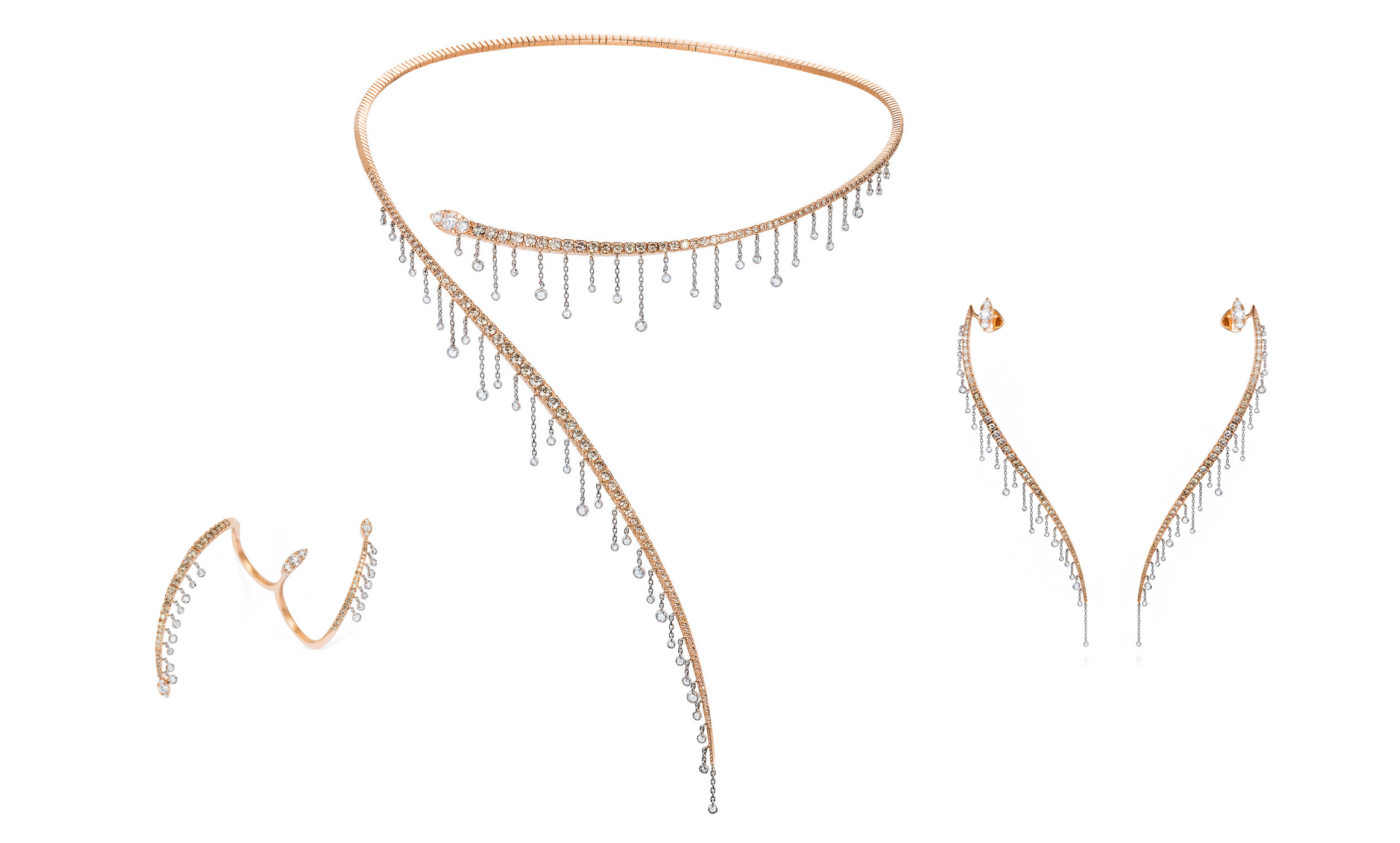 Rose gold and diamonds earrings, flexible necklace and a ring from Mike Joseph Waterfall collection