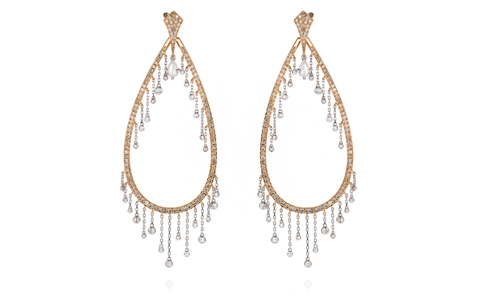 Mike Joseph Waterfall earrings in rose gold and diamonds