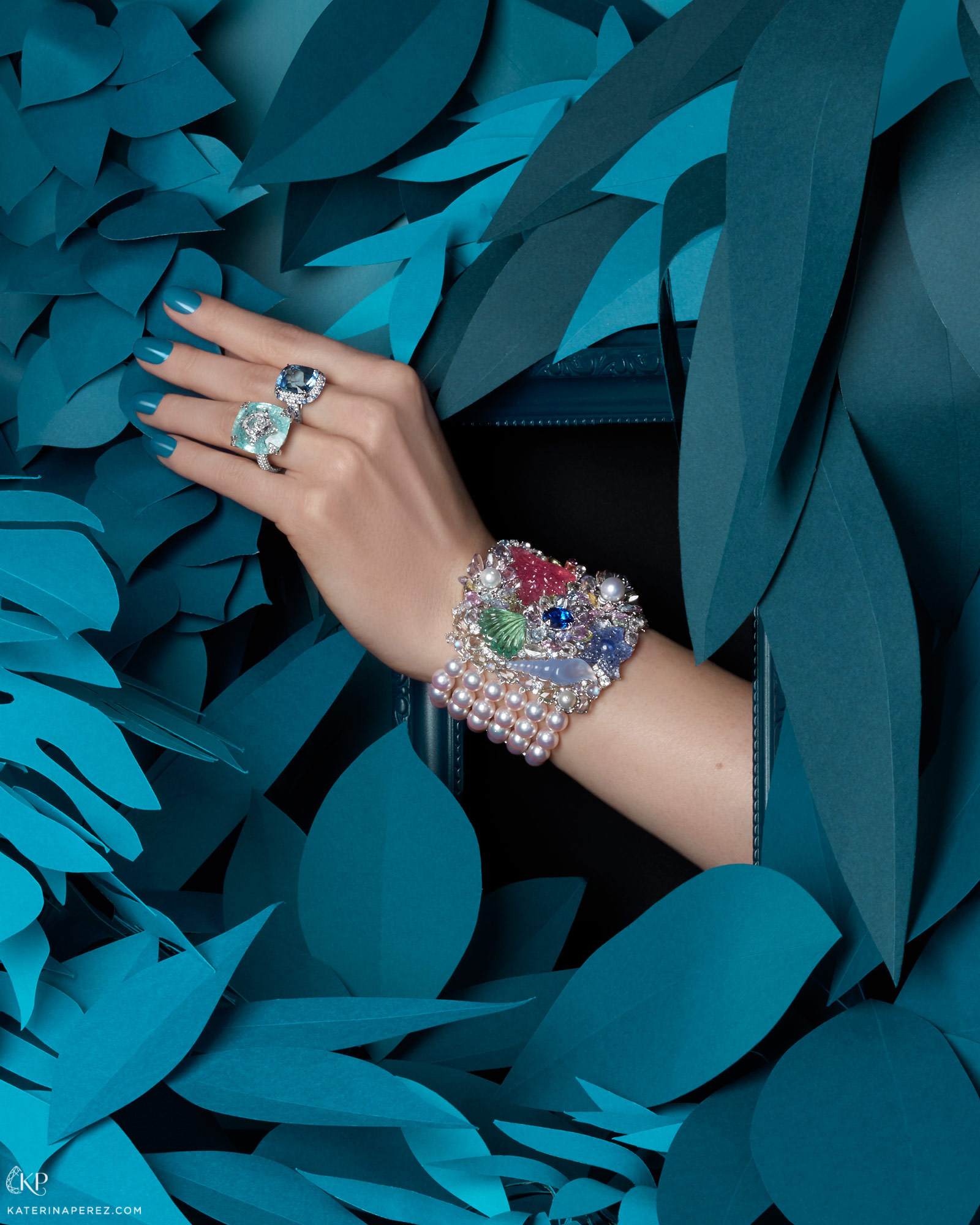 Boghossian ring with 2.51 cts diamond inlaid into Paraiba tourmaline; Martin Katz ring with 10.95 cts Cushion-cut sapphire and diamond set in platinum; Anna Hu Siren Aria bracelet with pearls, sapphires, tourmalines, chalcedony, moonstone and diamonds