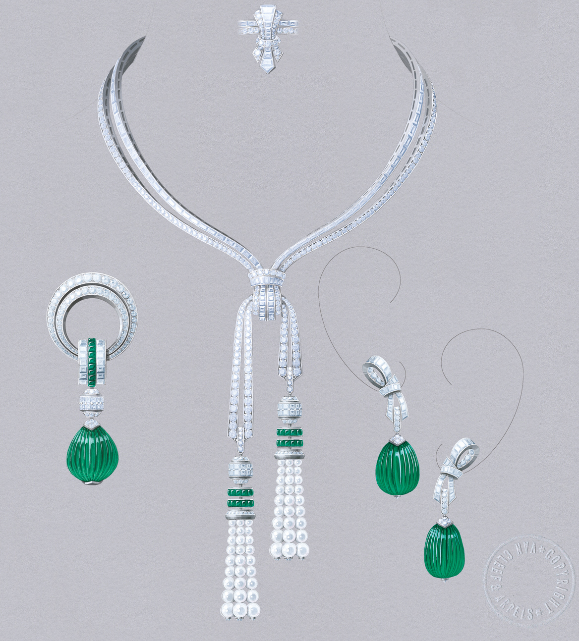 Van Cleef&Arpels Grand Opus set. White gold, round, baguette-cut and princess-cut diamonds, buff-topped square-cut emeralds, white cultured pearls, 3 carved emeralds for 127.88 carats (Colombia). Transformable necklace, earrings and clip with detachable pendants.