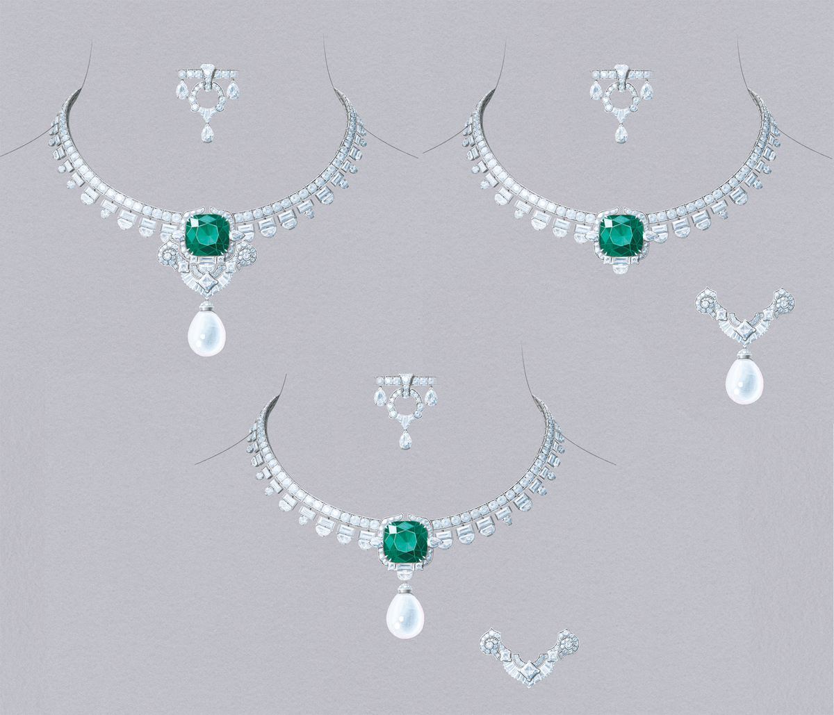 Van Cleef&Arpels Serrania necklace. White gold, platinum, round, square-cut, baguette-cut, half-moon and pear-shaped diamonds, one natural white pearl of 26.82 carats, one cushion-cut emerald of 26.43 carats (Colombia). Detachable clip and natural pearl