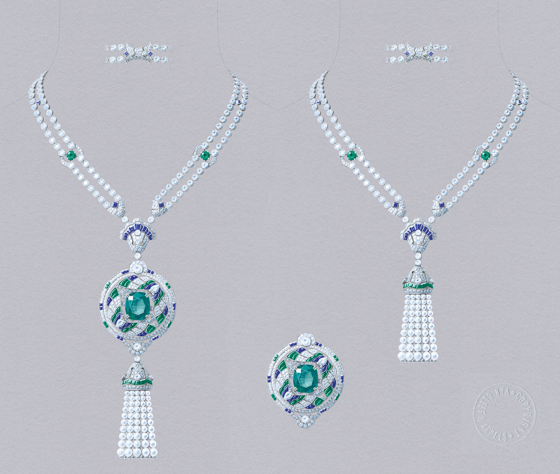 Van Cleef&Arpels Talisman Papillon necklace. White gold, round diamonds, square-cut, faceted and buff-topped baguette-cut sapphires, round, square-cut, faceted and buff-topped baguette-cut emeralds, white cultured pearls, one cushion-cut emerald of 16.52 carats (Colombia). Detachable clip and tassel
