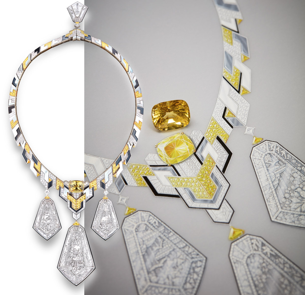 Boucheron Hotel Particulier necklace with a yellow sapphire, rock crystal, mother of pearl, onyx and diamonds