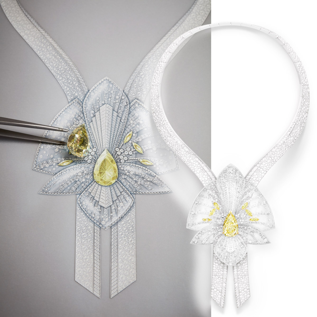 Boucheron Lys Radiant necklace with a 20-carat yellow diamond, rock crystal and colourless diamonds