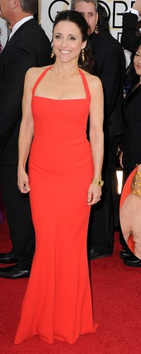 Julia Louis Dreyfus in gold Fred Leighton jewellery with multicoloured gems