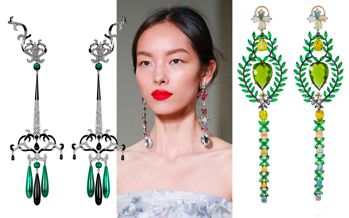 From left to right: Dionea Orcini earrings, Oscar de la Renta catwalk, Lydia Courteille earrings