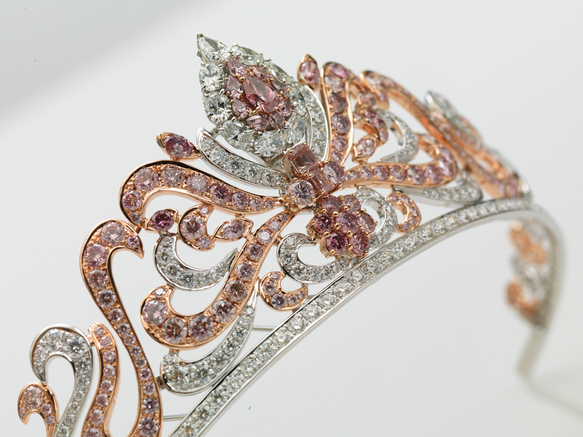 The Linney's Argyle Pink diamond tiara which showcases 178 of the rarest pink diamonds in the world