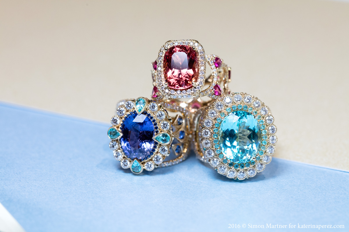 Erica Courtney Empress ring with a 5.19 cts colour change sapphire, Bracelet ring with a 7.46 cts Paraiba tourmaline and Sayeda ring with 5.49cts spinel