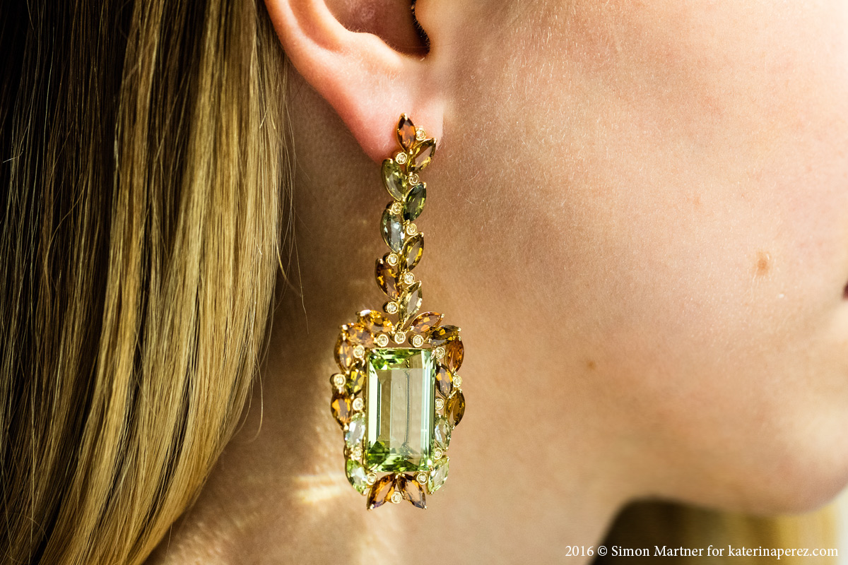 "VTSE ""Garden View Earrings"" featuring 2 beryls 48.97 cts total weight, fancy tourmalines of 20.5 cts, and yellow sapphires"