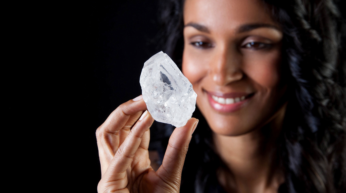 Colourless Lesedi la Rona – the largest gem-quality rough diamond to be found in over 100 years – weighing a mighty 1109 carats