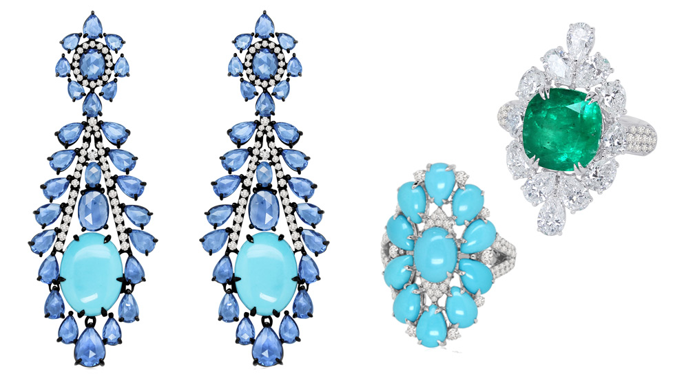 Sutra earrings with turquoise and sapphires, a rings with turquoise and diamonds and a rings with an emerald and diamonds