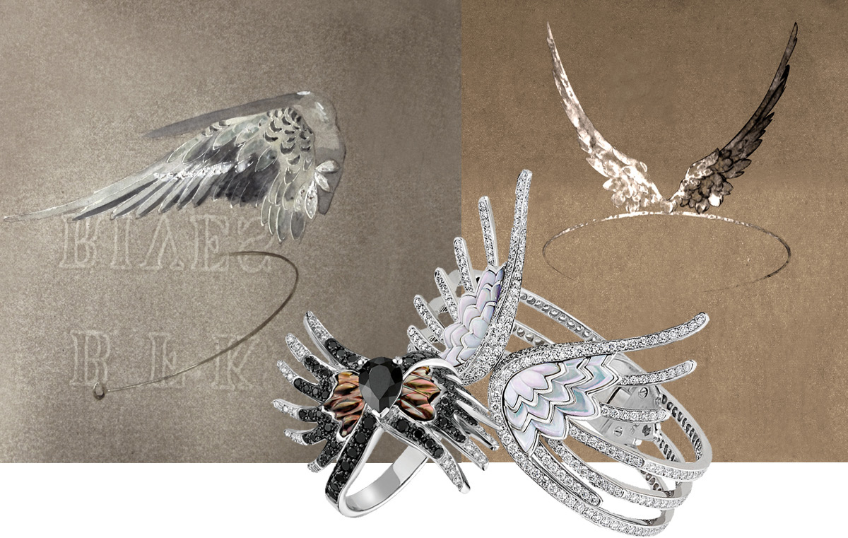 Original Rene Lalique drawings and the recent Vesta collection jewellery designed by Quentin Obadia