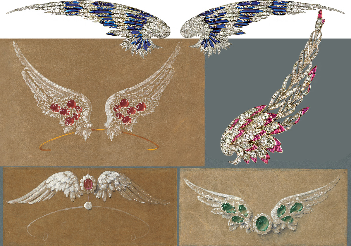 Chaumet drawings and finished jewellery