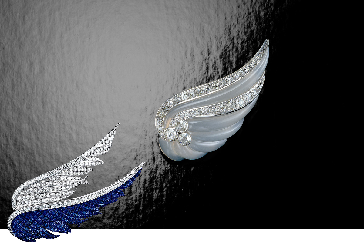 Suzanne Belperron carved brooch with diamonds and Van Cleef&Arpels diamond and sapphire brooch