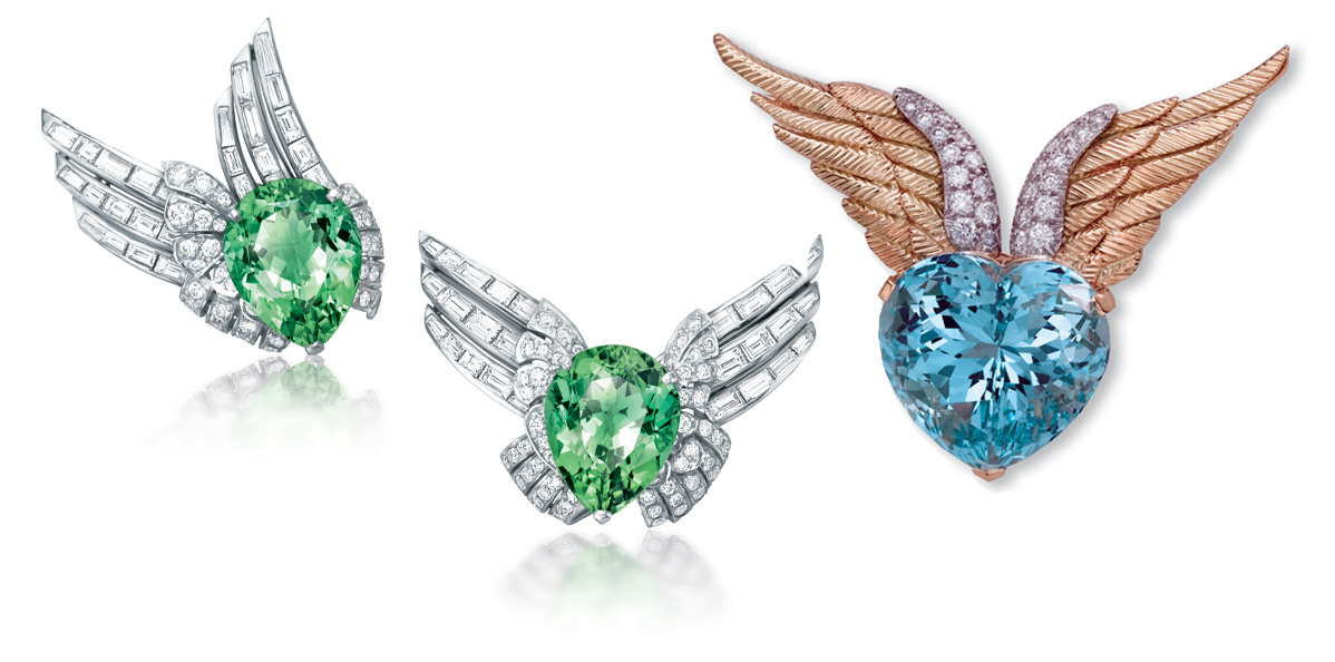 Left: Verdura Winged brooches with mint tourmaline and diamonds. Right: Verdura Winged Heart brooch with an aquamarine and diamonds