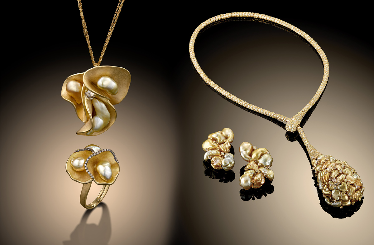 Almog and Sunset collections in yellow gold, baroque pearls and diamonds by Yvel