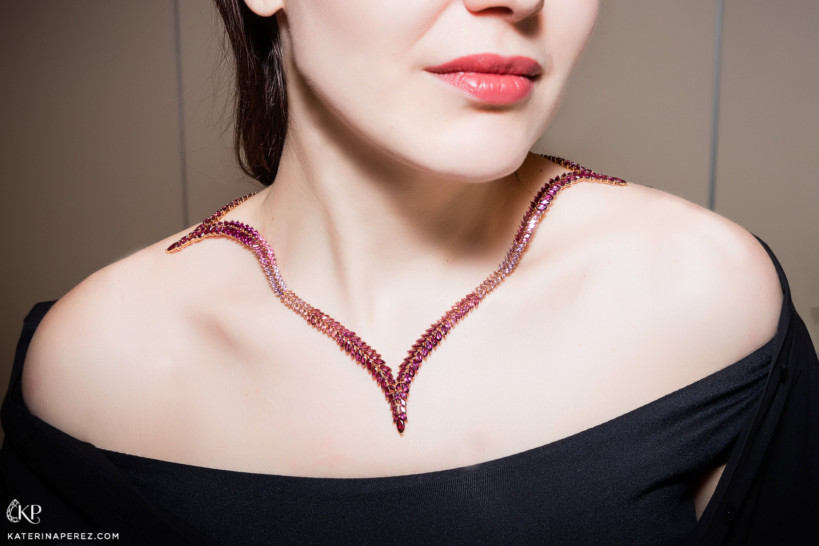 Leyla Abdollahi necklace with rhodolite garnets, amethysts and tourmalines and diamonds. Photo credit: Simon Martner