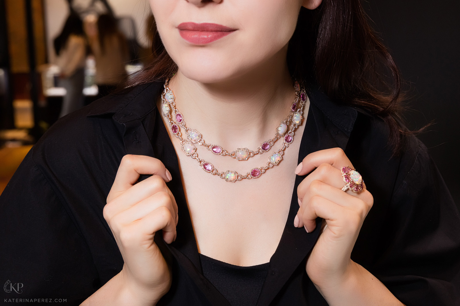 Sutra necklace and ring with opals and pinks sapphires. Photo credit: Simon Martner