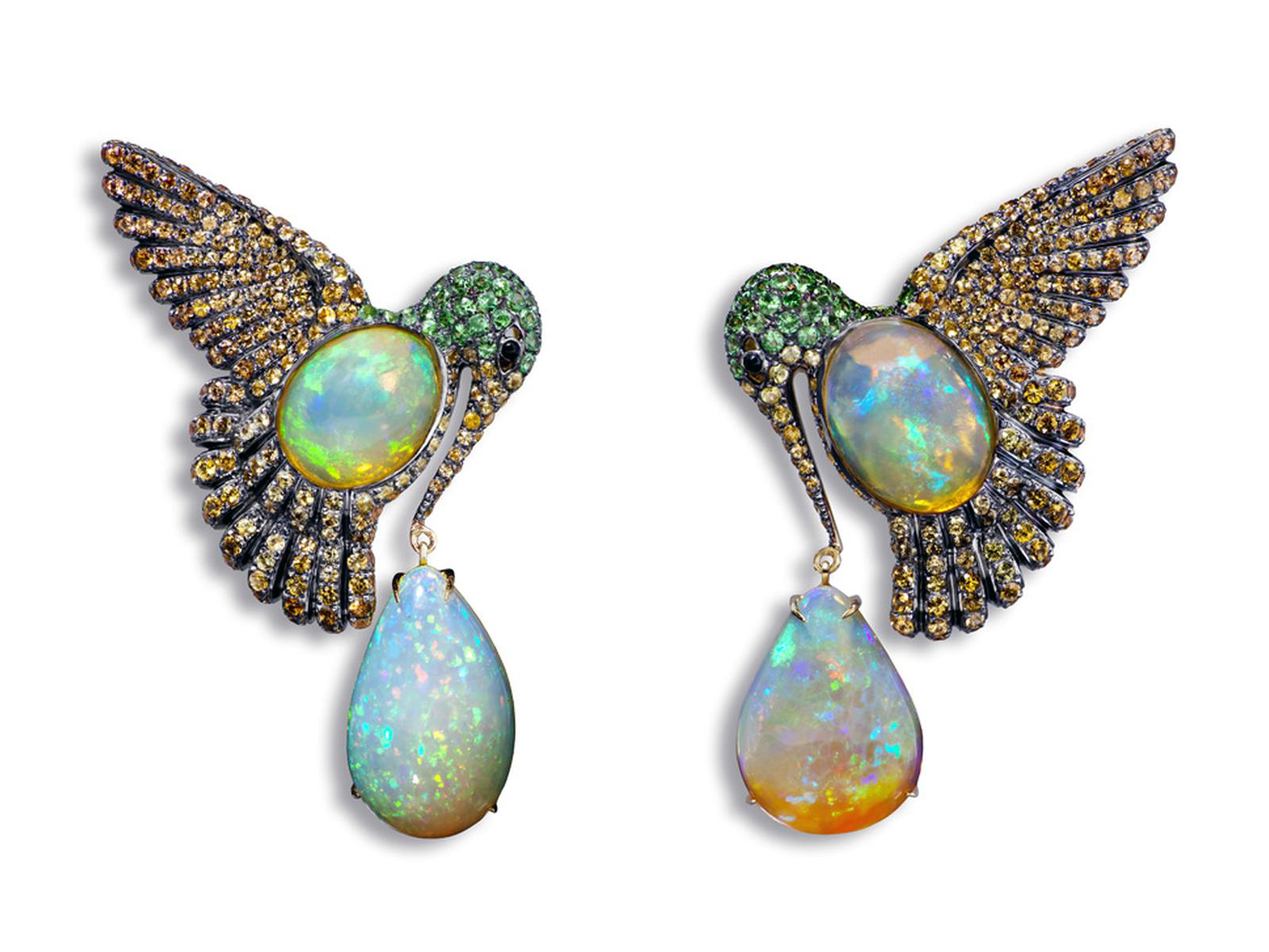 Colibri earrings by Lydia Courteille with orange mexican opals, orange sapphires, green garnet
