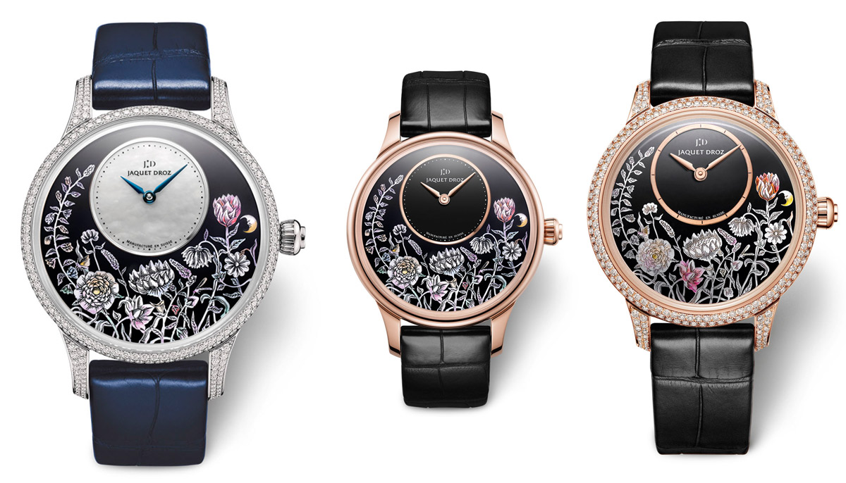 Jaquet Droz Petite Heure Minute Thousand Year Lights watches with white and rose gold dials