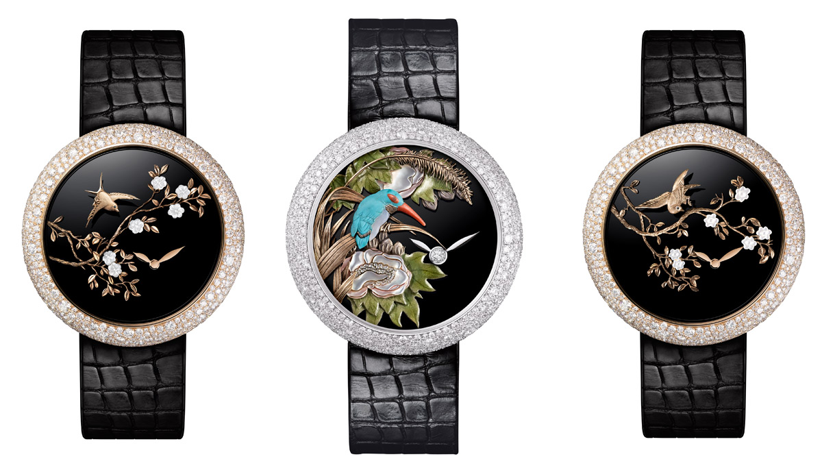 Chanel Mademoiselle Prive watches – the one in the centre made using glyptic techniques, the ones on each side are with sculptured gold