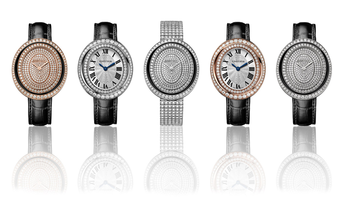 Cartier Hypnose watches in white and rose gold with diamonds