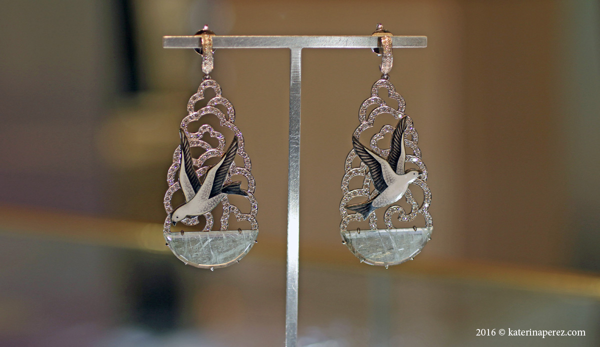 Ilgiz Fazulzyanov Seagull earrings with aquamarines, diamonds and enamel