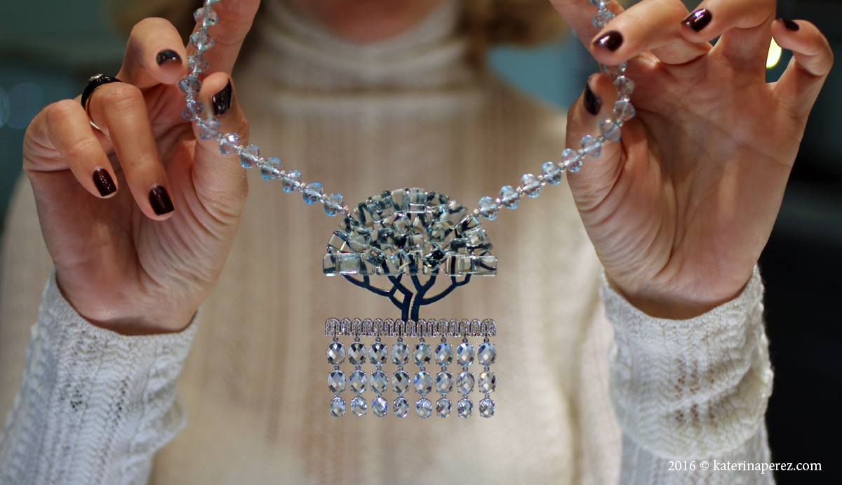 Ilgiz Tree necklace with aquamarines, topaz, diamonds and enamel