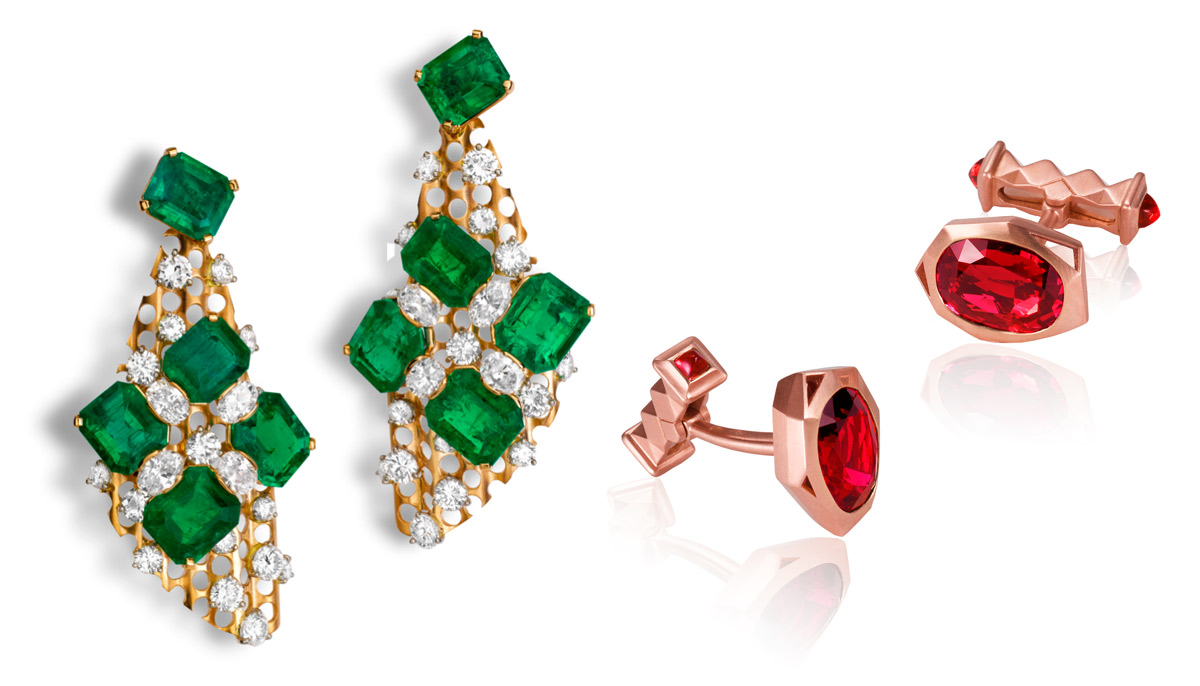 Left: La Danse earrings by Alexandre Reza featuring 10 Colombian emeralds weighing 36.11 carats and 8 oval-cut diamonds 3.70 cts surrounded by brilliants of 7.13 cts; Right: cufflinks with 2 Burmese oval spinels totalling 8.4 cts and 4 sugar-loaf spinels totalling 0.83 cts set in brushed pink gold