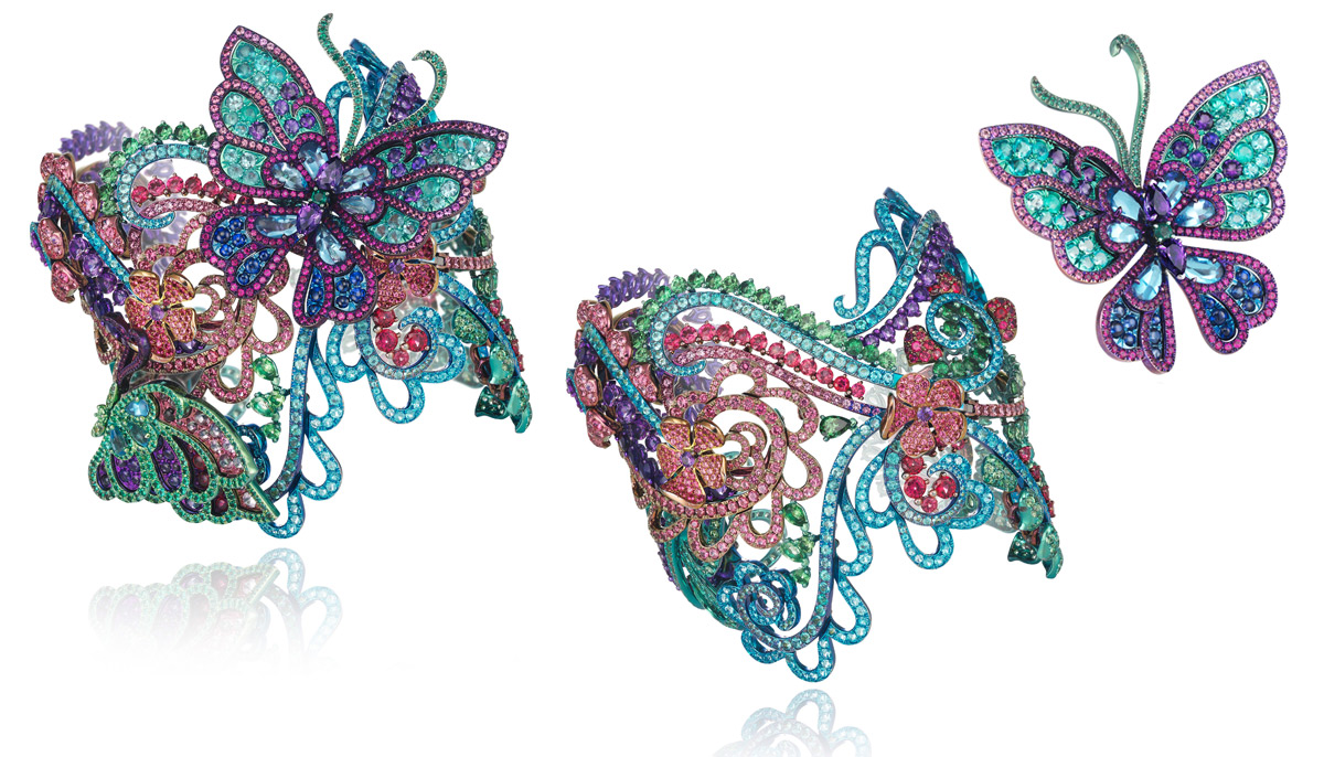 Chopard Flora and Fauna bracelet in 18K white gold and titanium with amethyst, emerald, tourmaline Paraiba, ruby, red spinel and tsavorites